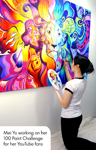 Mei Yu, working on her 100 Paint art challenge. She used 100 different colors of paint to create this artwork.