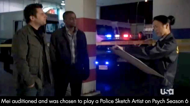 Mei auditioned and was chosen to play a Police Sketch Artist on Psych Season 6.