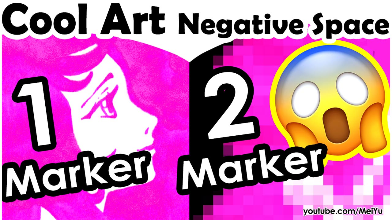 Mei Yu does a negative space art challenge with 1 marker, then 2 markers, in this cool Fun Friday art 